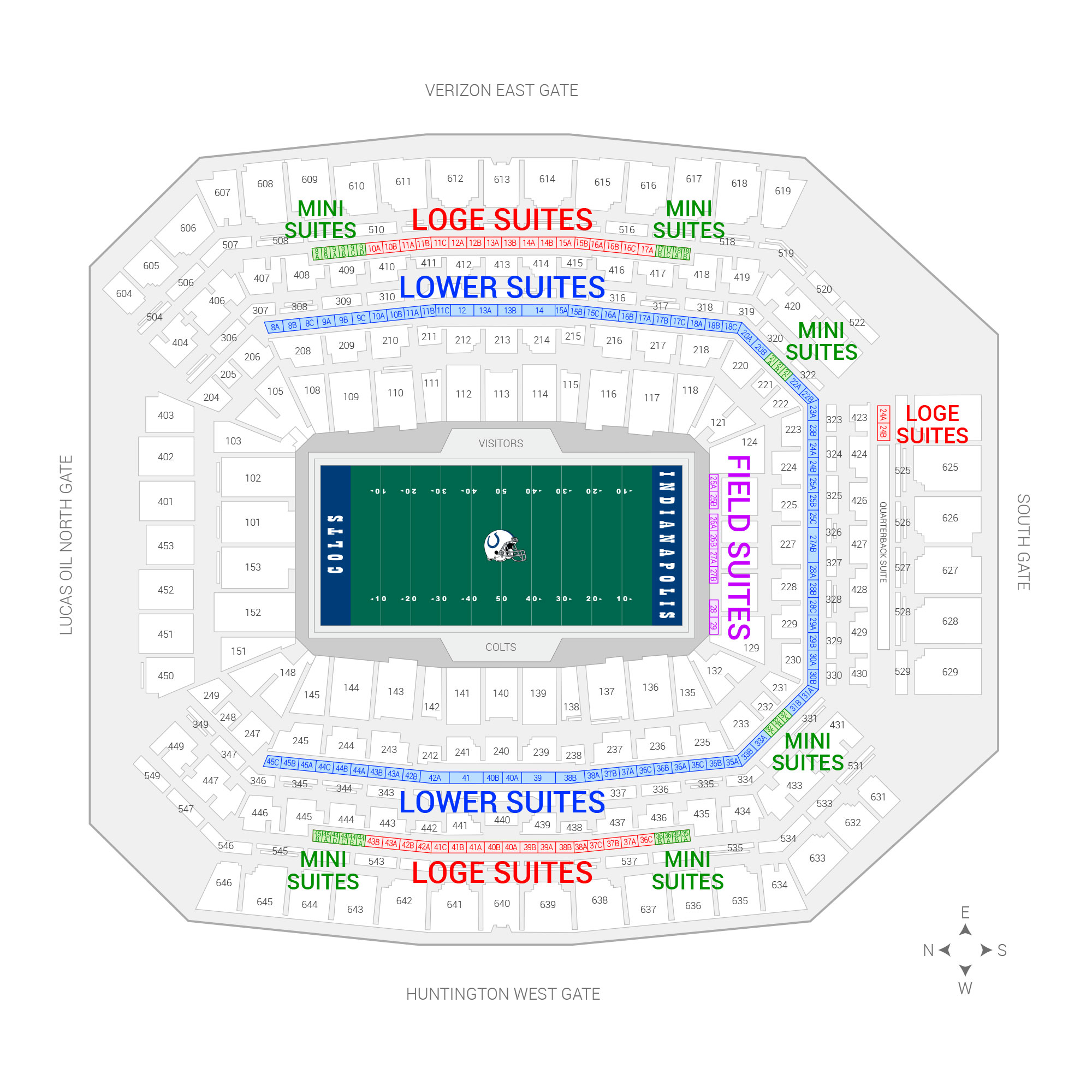 Lucas Oil Stadium / Indianapolis Colts Suite Map and Seating Chart